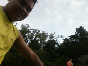 Joe's bike selfie with me running in the background.