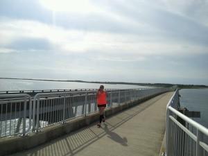 Conquering the big bridge near the visitor's center.